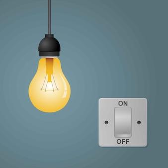 Flache glühbirnen werden bei eingeschalteten lichtschaltern ein- und ausgeschaltet.