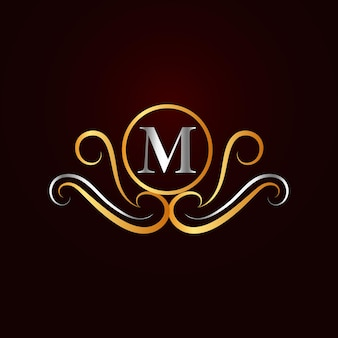 Flache goldene elegante dekorative m-logoschablone