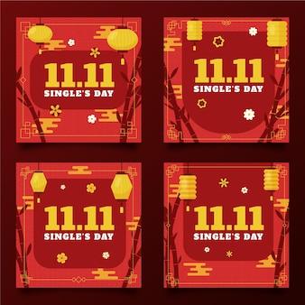 Flache goldene und rote instagram-posts-sammlung für den tag der single