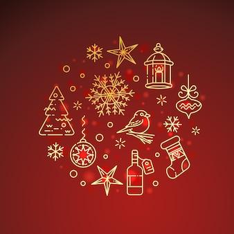 Flache goldene weihnachtsikonenzusammensetzung