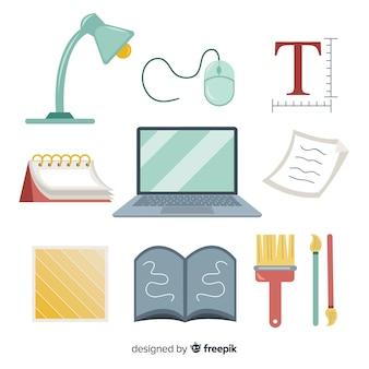 Flache grafikdesign-werkzeugsammlung