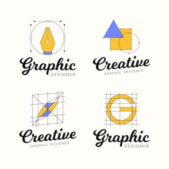 Flache grafikdesigner-logo-sammlung