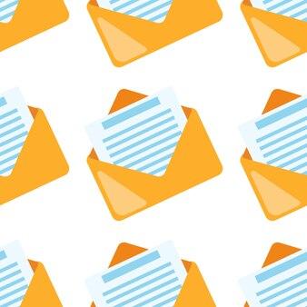 Flache grafische illustrationstapete des gelben postsymbols. e-mail nahtlose muster.