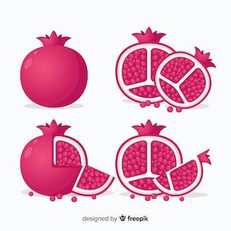 Flache granatapfel-sammlung