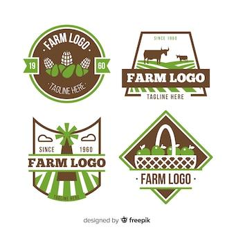 Flache grüne bauernhof logo sammlung