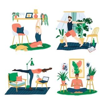 Flache gruppe von menschen, die yoga machen