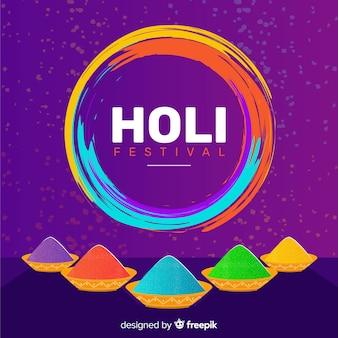 Flache gulal holi festival hintergrund