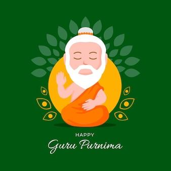 Flache guru purnima illustration