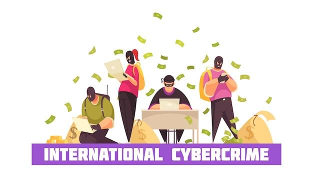 Flache hacker-zusammensetzung mit internationaler überschrift der internetkriminalität und geldscheinen, die um die vektorillustration des diebstahlers fliegen