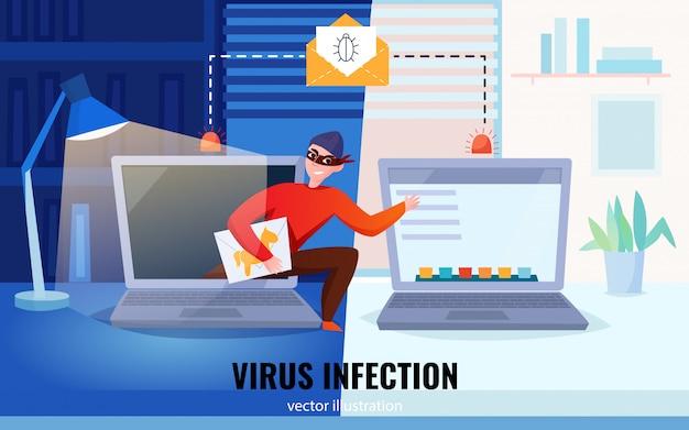 Flache hackercomputerzusammensetzung mit virusinfektionsschlagzeile und hacker stehlen informationsillustration