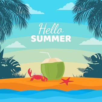 Flache hallo sommerverkauf illustration