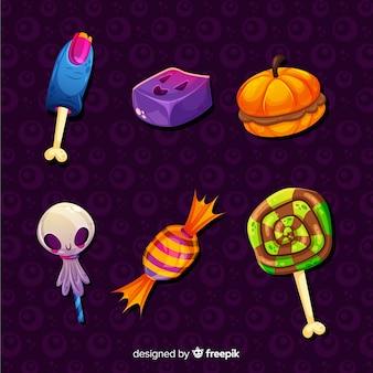 Flache halloween-bonbonsammlung