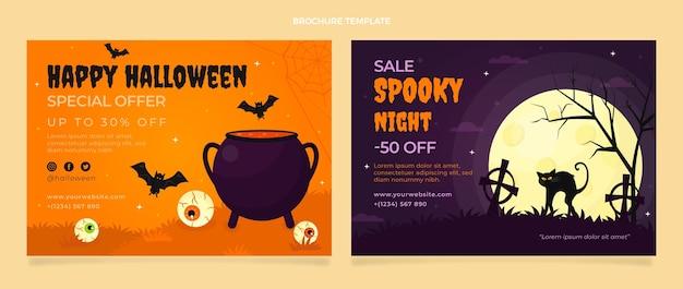 Flache halloween-broschürenvorlage