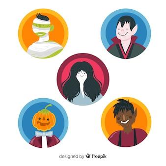Flache halloween-charaktersammlung des runden avatars