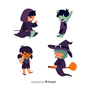 Flache halloween-charaktersammlung