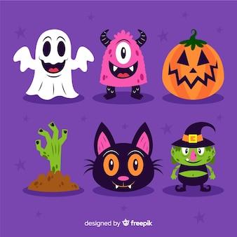 Flache halloween-dekorsammlung