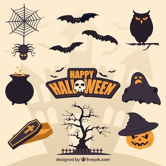Flache halloween-elemente mit gruseligem stil