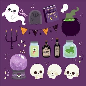 Flache halloween-elementkollektion