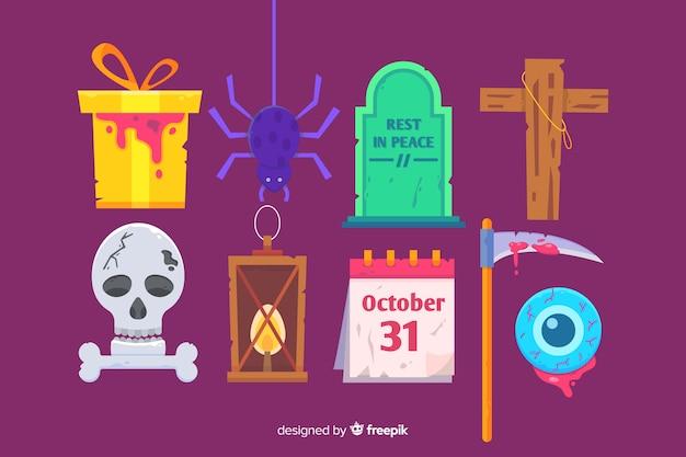 Flache halloween-elementsammlung auf purpurrotem hintergrund