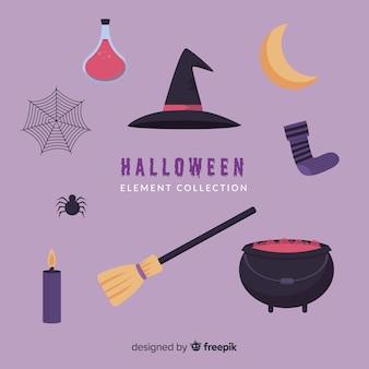 Flache halloween-elementsammlungshexerei