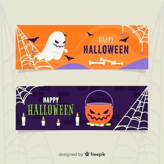 Flache halloween-fahnen des geistes und des kürbises