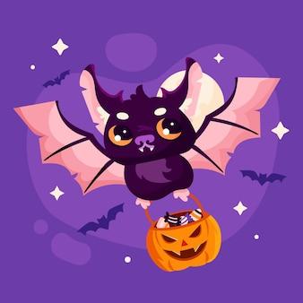 Flache halloween-fledermaus-illustration