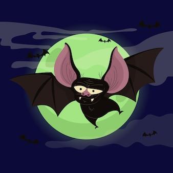 Flache halloween-fledermausillustration