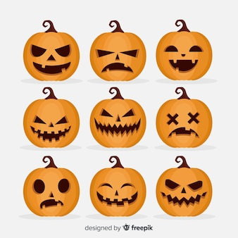 Flache halloween-furchtsame kürbissammlung