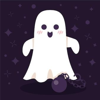 Flache halloween-geisterillustration