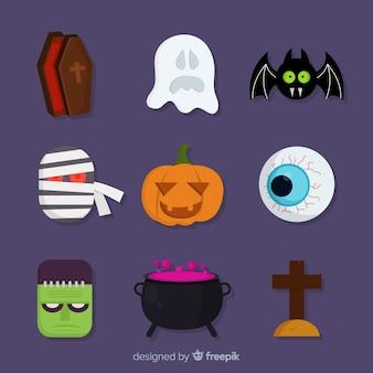 Flache halloween-gespenstische elementsammlung