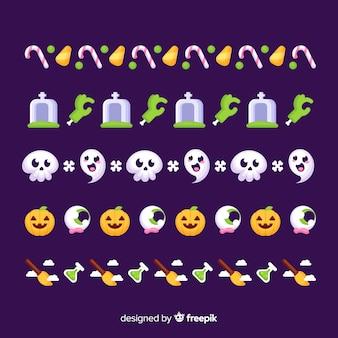 Flache halloween-girlandensammlung