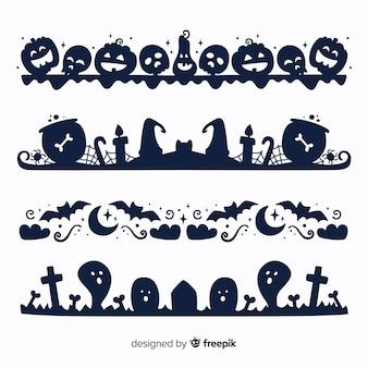 Flache halloween-grenze auf schwarzweiss-sammlung