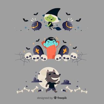 Flache halloween-grenzsammlung auf grauem hintergrund