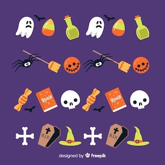 Flache halloween-grenzsammlung mit dekorationen