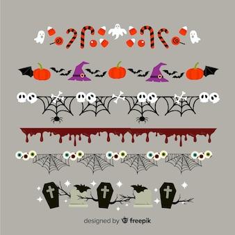 Flache halloween-grenzsammlung