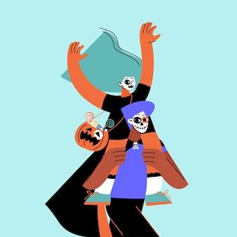 Flache halloween-illustration