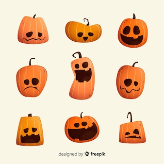 Flache halloween-karikaturkürbissammlung