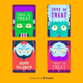 Flache halloween-kartensammlung mit nahaufnahmemonstergesichtern