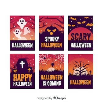Flache halloween-kartenschablonensammlung