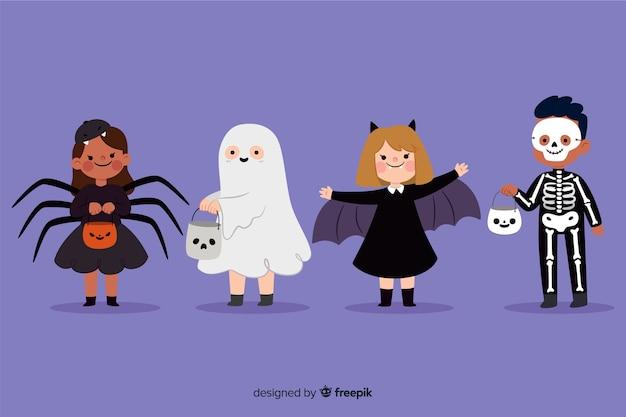 Flache halloween-kindersammlung auf blauem hintergrund
