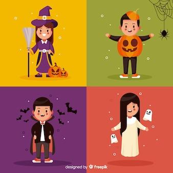 Flache halloween-kindersammlung auf unterschiedlichem farbigem hintergrund