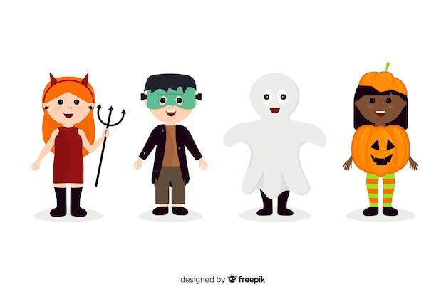Flache halloween-kindersammlung auf weißem hintergrund