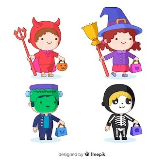 Flache halloween-kindersammlung