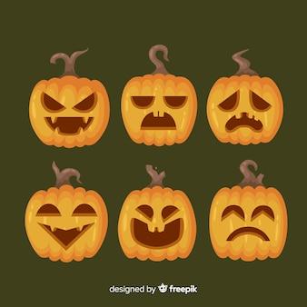 Flache halloween-kürbisgesichter jacks o laterne