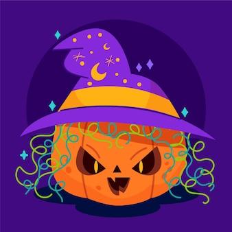 Flache halloween-kürbisillustration