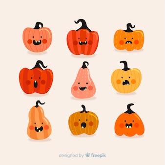 Flache halloween-kürbissammlung