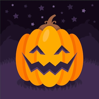 Flache halloween-kürbisse-illustration