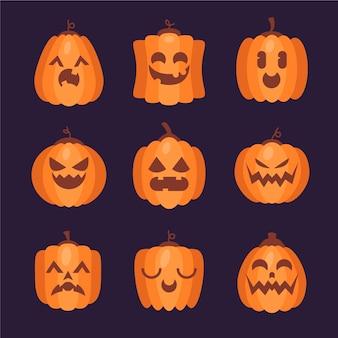 Flache halloween-kürbisse-sammlung