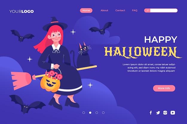 Flache halloween-landingpage-vorlage