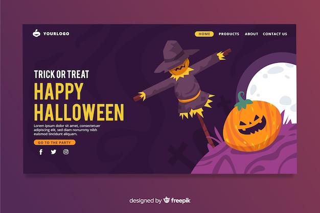 Flache halloween-landingpage